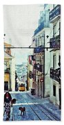 Lisboa Tram Route Beach Towel