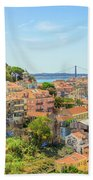 Lisbon Aerial View Beach Towel
