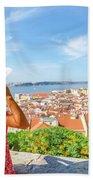 Lisbon Castle Woman Beach Towel