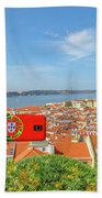 Lisbon Pictures Aerial Beach Towel