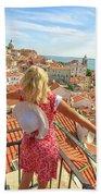 Lisbon Tourist Viewpoint Beach Towel