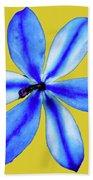 Little Blue Flower On A Yellow Background Beach Towel