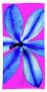 Little Blue Flower On Dark Pink Beach Towel