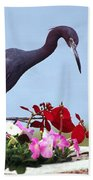Little Blue Heron In Flower Pot Beach Towel