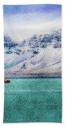 Little Boat In Reykjavik Bay Beach Towel