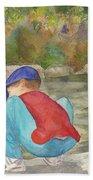 Little Boy At Japanese Garden Beach Towel