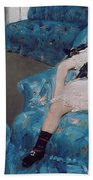 Little Girl In A Blue Armchair Beach Towel by Mary Stevenson Cassatt