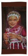 Little Girl In India Beach Towel