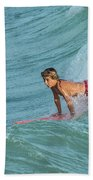 Little Guy Big Wave Beach Towel