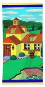 Little House On The Green Beach Towel by Snake Jagger