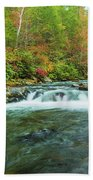 Little Pigeon River Flows In Autumn In The Smoky Mountains Beach Towel