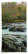 Little Pigeon River In Autumn In Smoky Mountains In Autumn Beach Towel
