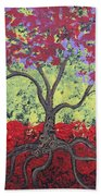 Little Red Tree Beach Towel