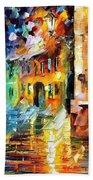 Little Street - Palette Knife Oil Painting On Canvas By Leonid Afremov Beach Towel