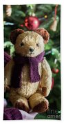Little Sweet Teddy Bear With Knitted Scarf Under The Christmas Tree Beach Towel