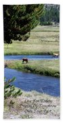 Live Dream Own Yellowstone Park Elk Herd Text Beach Towel