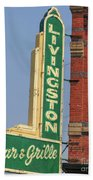 Livingston Bar And Grill Old Neon Sign Montana Beach Towel