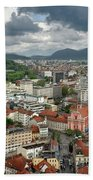 Ljubljana Slovenia With Karawanks, Kamnik Savinja, Limestone Alp Beach Towel