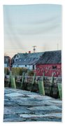 Lobster Pots On Rockports T Wharf Beach Towel by Jeff Folger