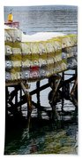 Lobster Traps In Winter Beach Towel