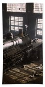 Locomotive Repair Shop - December 1942 Beach Towel