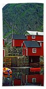 Lofoten Fishing Huts Oil Beach Towel