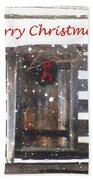 Log Cabin Christmas Beach Towel