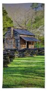 Log Cabin, Smoky Mountains, Tennessee Beach Towel