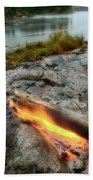 Log On Fire Manitoba Lake Wilderness Beach Towel