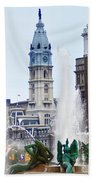 Logan Circle Fountain With City Hall In Backround Beach Towel by Bill Cannon