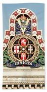 London Chatham And Dover Railway Crest With Invicta Motto Blackfriars Railway Station Beach Towel