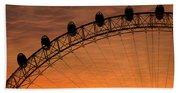London Eye Sunset Beach Towel