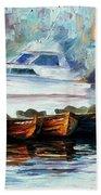 London-fog Over Thames - Palette Knife Oil Painting On Canvas By Leonid Afremov Beach Towel