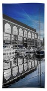 London. St. Katherine Dock. Reflections. Beach Towel