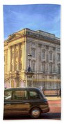 London Taxi And Buckingham Palace  Beach Towel