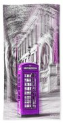 London Telephone Purple Beach Towel