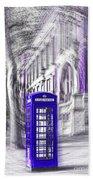 London Telephone Purple Blue Beach Towel