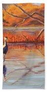 Lone Crane Still Water Beach Sheet