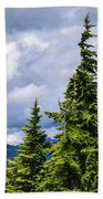 Lone Fir With Clouds Beach Towel