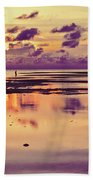 Lone Fisherman In Distance During Beautiful Reflected Sunset With Dramatic Clouds In Maldives Beach Towel