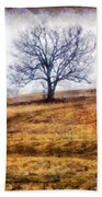 Lone Tree On Hill In Winter Beach Towel