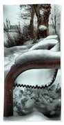 Lonely Bench In Snowfall Beach Towel