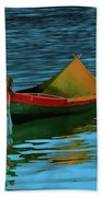 Lonely Boat Beach Towel