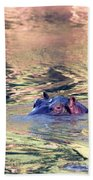 Lonely Hippo Beach Towel