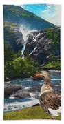 Lonely Near The Waterfall 1 Beach Towel