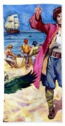 Long John Silver And His Parrot Beach Towel