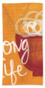 Long Life Noodle Bowl Beach Towel by Linda Woods