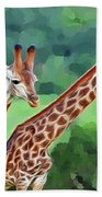 Long Necked Giraffes 2 Beach Towel