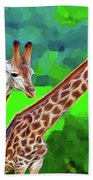 Long Necked Giraffes 3 Beach Towel