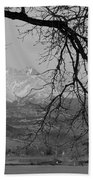 Longs Peak And Mt. Meeker The Twin Peaks Black And White Photo I Beach Towel by James BO  Insogna